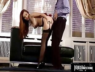 Big tit redheaded hottie gets