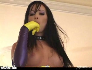 Picture Ultra Hot Chick With Long Dark Hair Sucks An...
