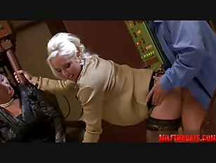 blonde and brunette lady 3some fuck in public