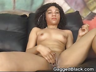 Black Ghetto Slut Gagging And Choking During Face Fucking