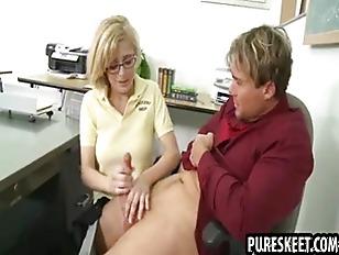 Blonde schoolgirl in glasses g