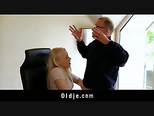 Old boss hard office sex with