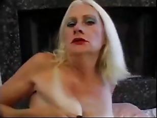 Blonde Old Granny Tart in Fishnets Fucks