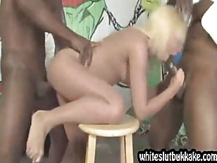 White girl  forced to gag on b