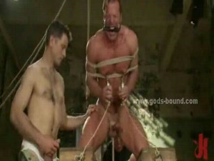 Strong powerfull gay prey tied