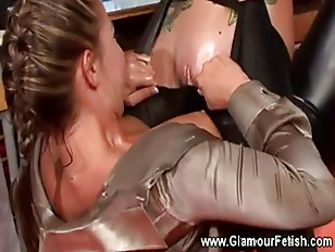Lesbian gets oiled up clit in