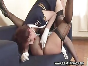 Sexy mature in stockings going