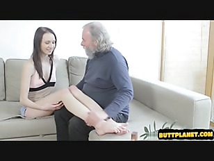 Young brunette fuck old man