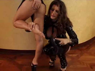 Two amazing lesbian licking and fucking on lesbian action with big dildo