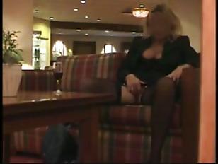 Slutty in a hotel lobby