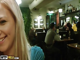 Picture Blonde Girl Showing Tits In The Cafe