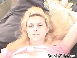 Trashy Blonde Crack Whore Suck