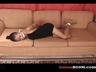 Precious Asian chick hogtied o