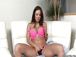 Mia Lelani deep throats cock a