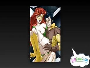 Wolverine & Bat Woman Cartoon