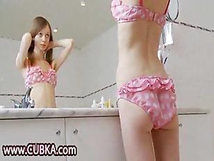 gaunt brunette in the bathroom