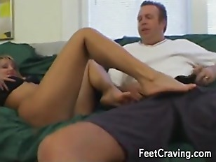 Busty blonde gets her toes suc