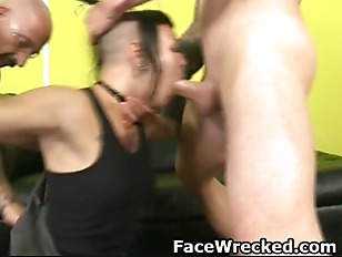 Handcuffed Brunette Amateur Getting Face Fucked Raw