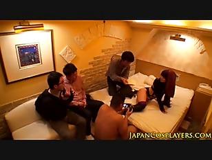 Asian cosplay babe facilized in gang bang