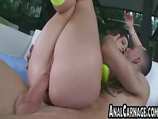 Brunette babe gets fucked in t
