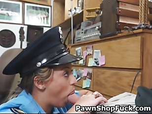 Very Hot Cop Sucking DIck In Back Room Of Pawn Shop