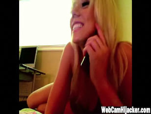 Sexy Blonde gets her webcam ha