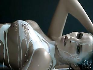 Sexy girl milk bath