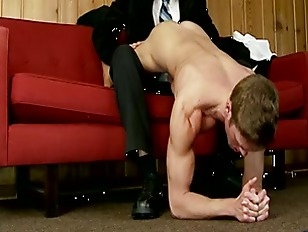 Sexy gay suited guy gropes nak