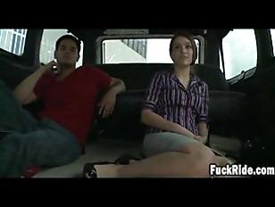 Brunette gets anal on bangbus