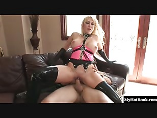 Blonde MILF Alana Evans cleans her home while wearing her latex high top