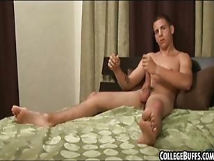 Horny college stud tugging on